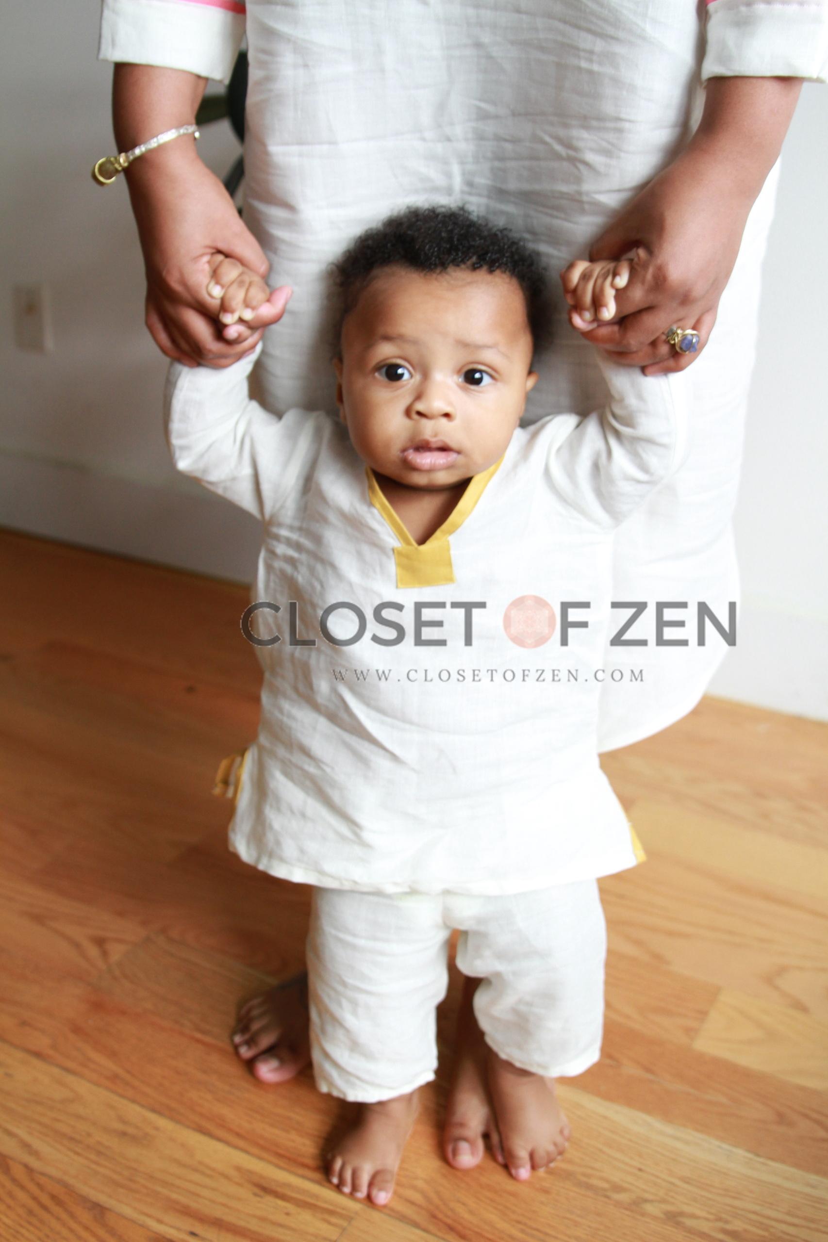 Baby's White Linen Zen Pants